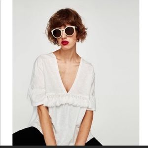 Zara puff sleeve oversized v-neck with tassels